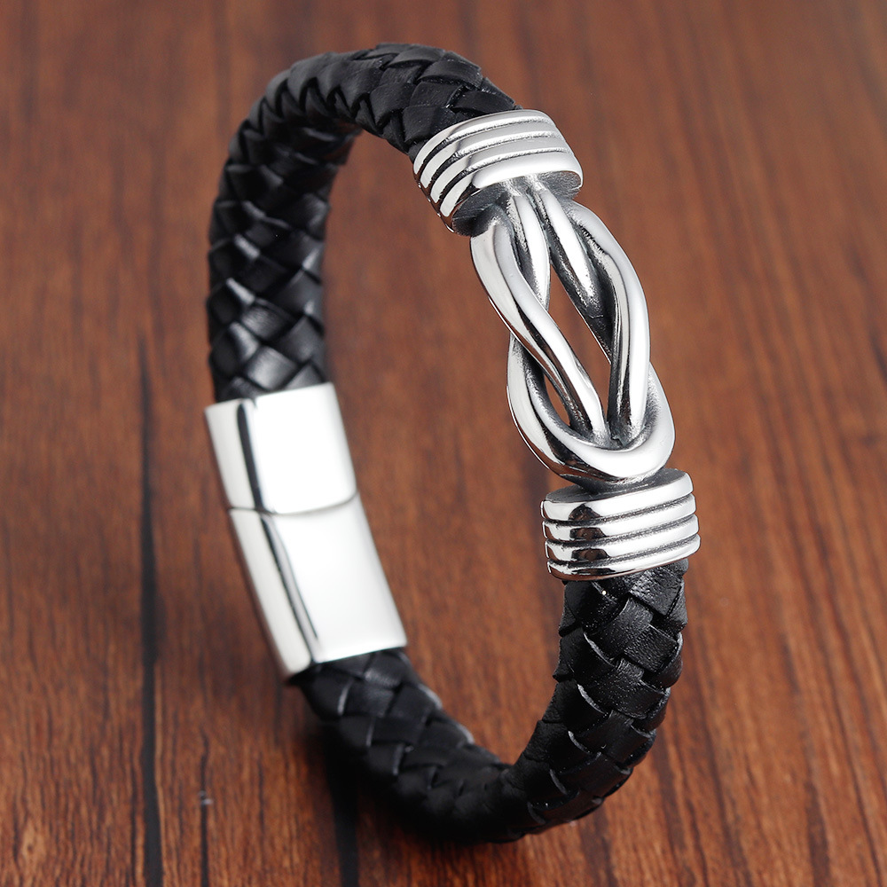 Fashion Deluxe Irregular Graphic Accessories Mens Leather Bracelet Stainless Steel Combination For Birthday Commemorative Gifts