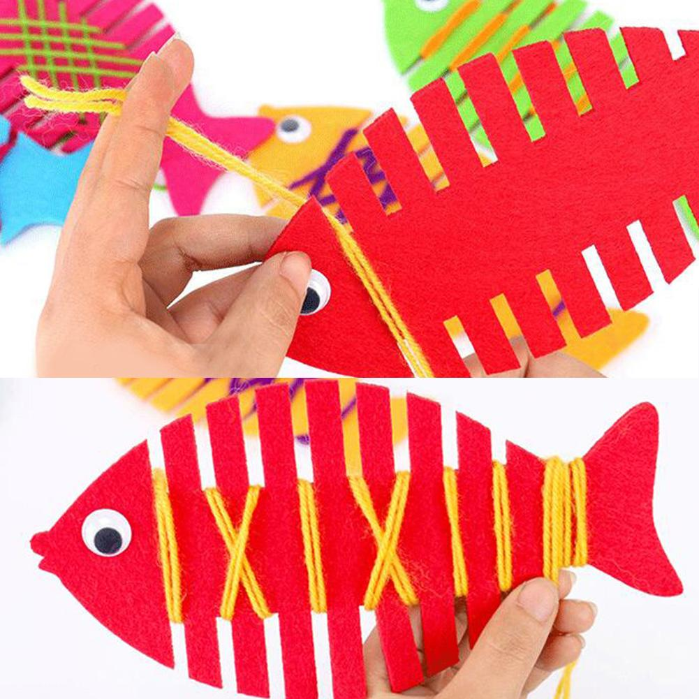 5Pcs Fine Motor Skills Toys Fish Wrapping Thread Handmade Felt Kindergarten Teaching Aids Montessori Educational Toys