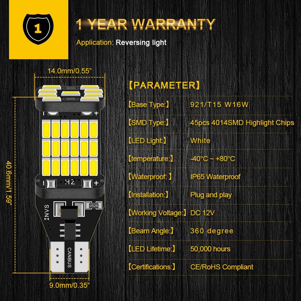 2x Canbus T16 T15 921 W16W LED Bulb Car Backup Reverse Lights for Hyundai Tucson 2017 Creta Kona IX35 Solaris Accent I30 Elantra 4