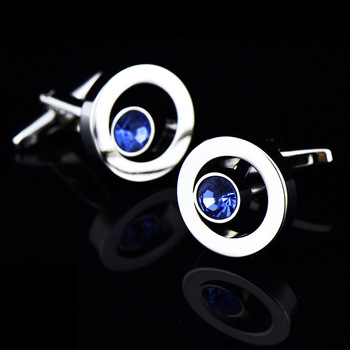 French High Grade Metal Blue Crystal Cuff Links 3
