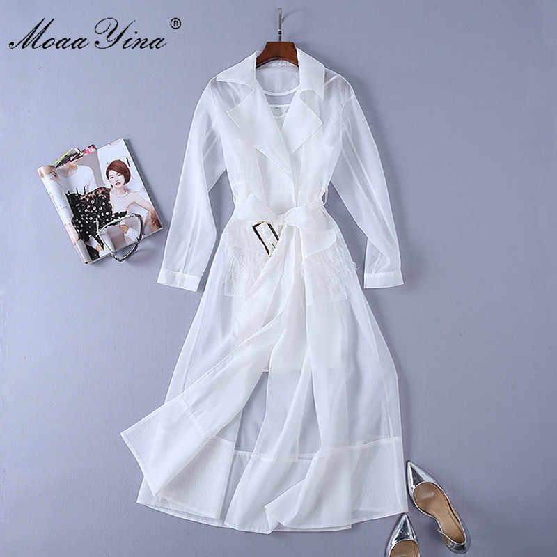 MoaaYina/модное дизайнерское платье для подиума; сезон весна-осень; женское платье с отложным воротником и длинным рукавом; с карманами и перьями; платья на шнуровке