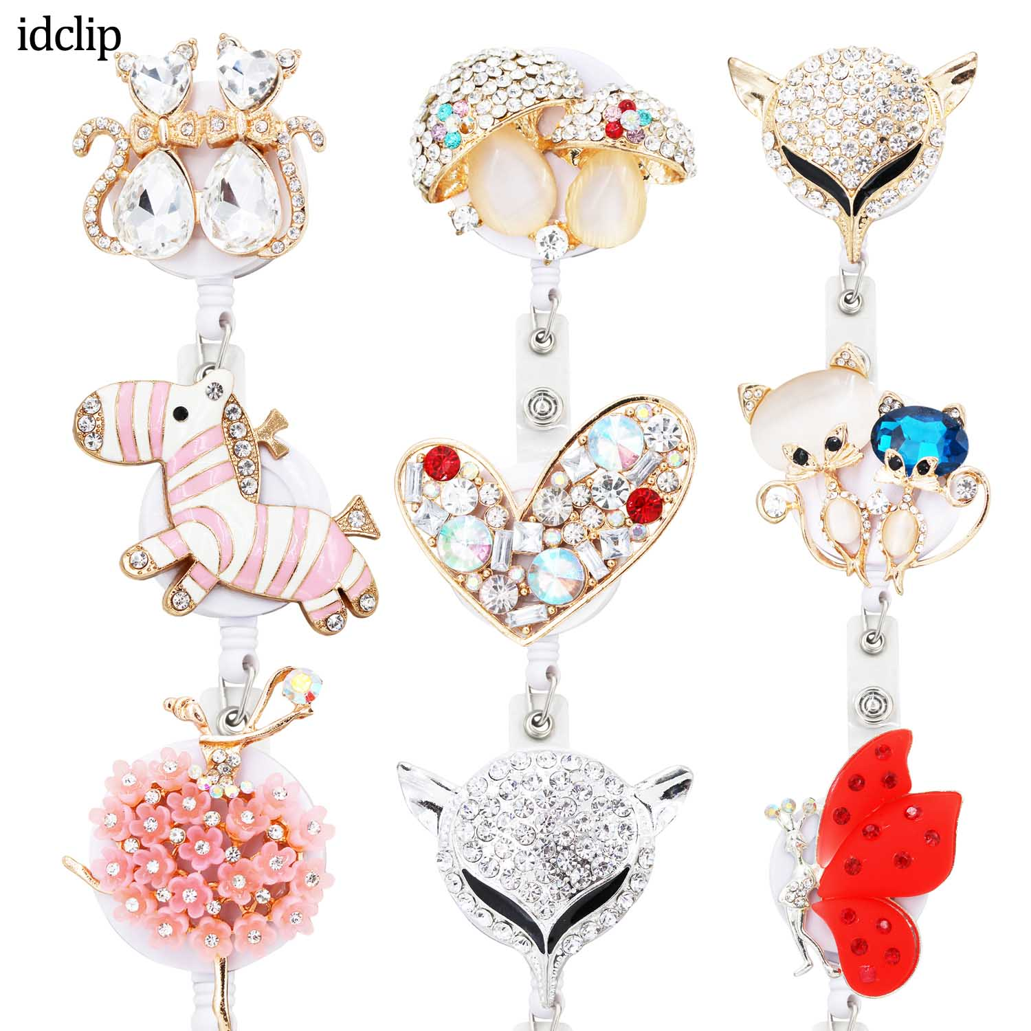 Idclip 1PC Animal Retractable Badge Holder With Alligator Clip Retractable Cord ID Badge Reel Fox Dress Girl Horse Style