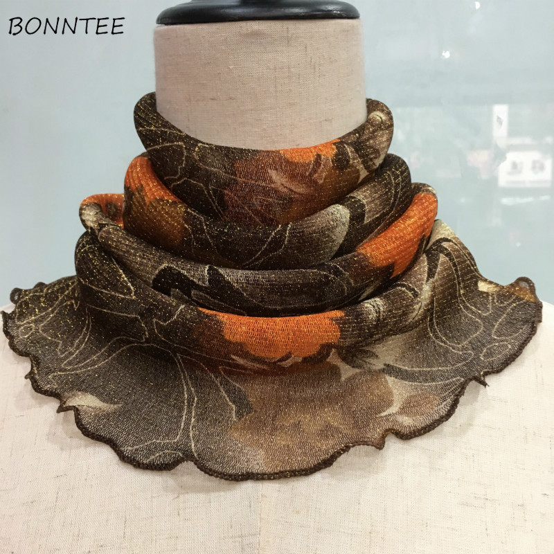 Scarves Women Wraps Multi-functional Elegant Vintage Women Various Color Leisure Ring Printed Fashionable Colorful Decorative