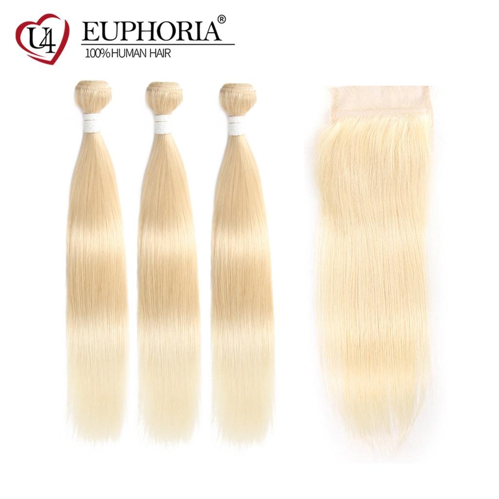 613 pacotes de cabelo loiro com fechamento brasileiro em linha reta remy cabelo humano tece ombre preto platina cabelo loiro tecelagem euforia