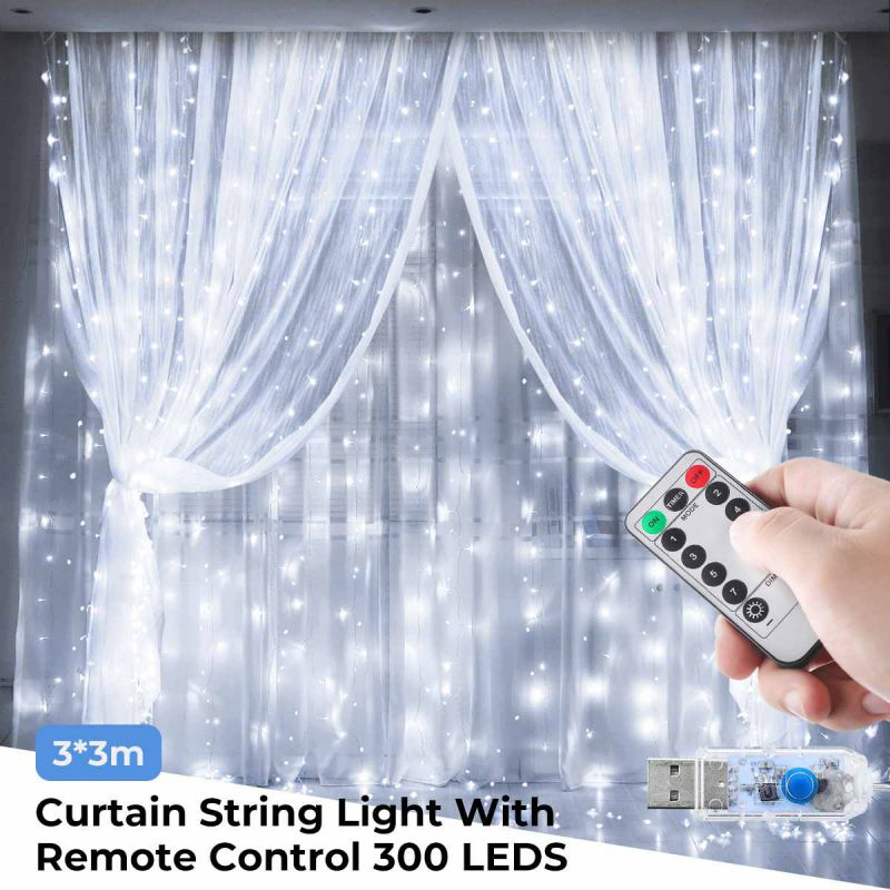Hot 3Mx3M 300 LED USB Led Curtain Light Copper Wire LED String Curtain Lights Wedding Xmas Decorative Light With Remote Control