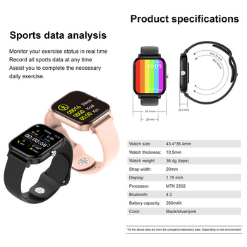 2020 HD 1.75 Inch Smartwatch Men full touch Multi-Sport Mode VS P8 Smart Watch Women Heart Rate Monitor For iOS Android 2