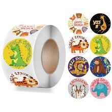 500pcs/roll Animals Reward Stickers Cartoon Pattern Cute Words Encourage Sticker for Kids Gift Student Motivational Sticker Roll