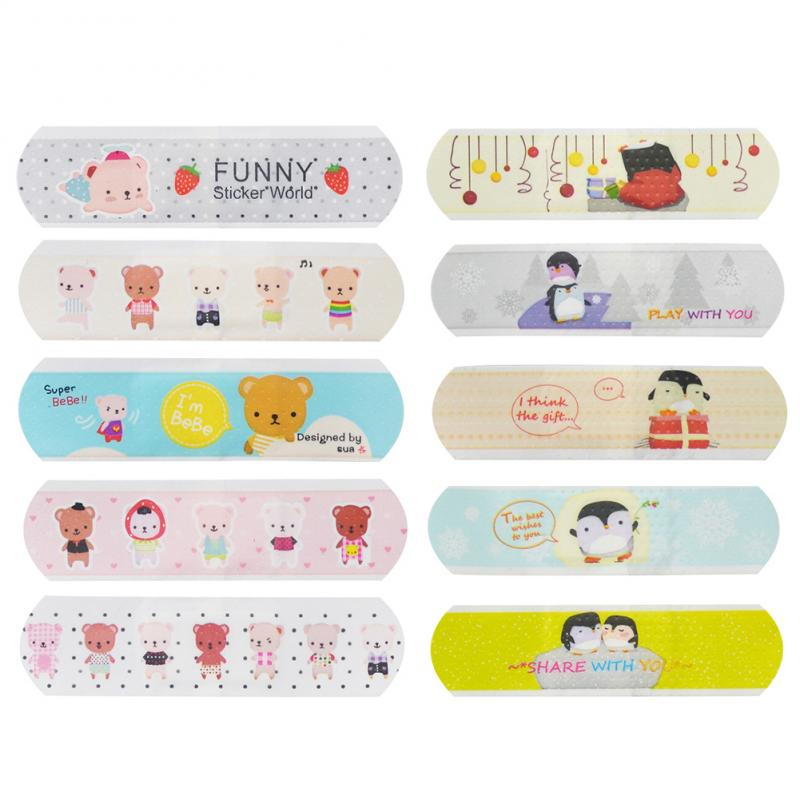 100PC Hemostatic Adhesive Bandages Breathable Cute Cartoon Adhesive Bandage Waterproof First Aid Emergency Kit For Kids Band Aid