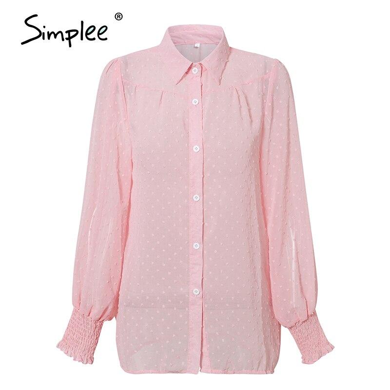 Image 3 - Simplee Sexy rose léopard femmes blouse chemises décontracté bureau dame travail porter hauts printemps chic blanc à manches longues blouses chemises hautBlouses & Chemises   -