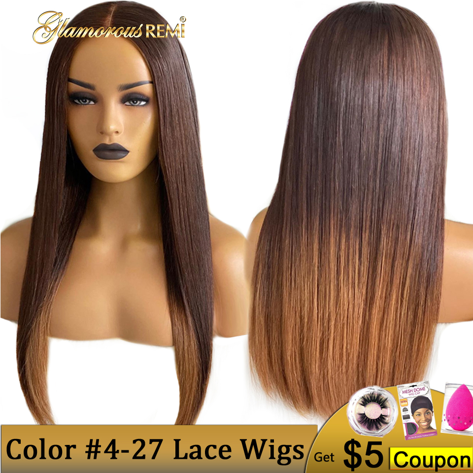 T4-27 Ombre Color Customized Wig Straight Lace Front Wig Brazilian Human Remy Hair Wigs For Women Natural Hairline Bleached Knot