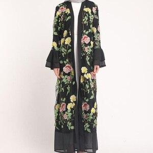 Abayas for Women Muslim Long Abaya Cardigan Islamic Muslim Dresses Middle Eastern Dubai Kaftan Long Dress Robe Femme Musulman