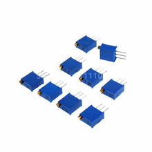 50PCS/LOT 3296W 3296 Variable Resistor 500R 1K 2K 5K 10K 20K 50K 100K 200K 1M Multiturn Trimmer Potentiometer Kit High Precision