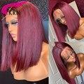 Парик с коротким париком 13x4, парик из человеческих волос с фронтальным кружевом, Реми, бразильские волосы, прямые волосы 150%, короткий парик с...