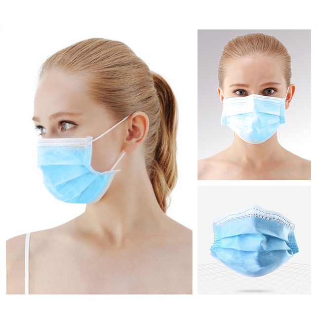 10/50/100 Pcs Face Mouth Protective Mask Disposable Protect 3 Layers Filter Dustproof Earloop Non Woven Mouth Masks 3