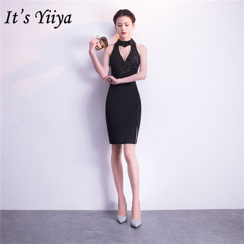 Black Prom Dress It's Yiiya DX387 Beading Halter Sleeveless Prom Dresses 2020 Mini Crystal Cut-out Zipper Short Vestidos De Gala