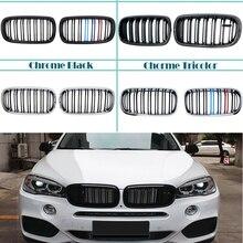 ممتص صدمات أمامي أسود/من ألياف الكربون لشبكة الكلى لسيارات BMW X5 F15 X6 F16 2014 2015 2016 2017 2018 M أداء قوي
