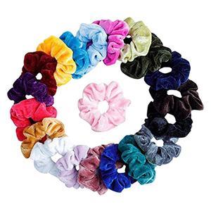 20 Pcs/Set Vintage Hair Scrunchies Stretchy Velvet Scrunchie Pack Women Elastic Hair Bands Girl Headwear Rubber Hair Ties @D