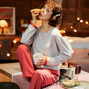 Image 4 - Pajama Sets Couples 2020 New Spring Clothes For Women Long Sleeve Tops & Solid Pants Men Pajamas Pure Cotton Suit3XL Nightwear