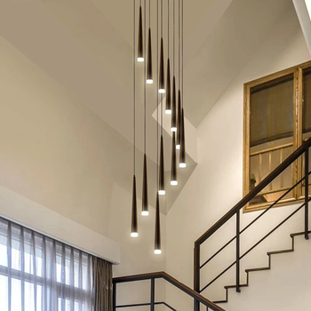 Modern Led Stairs Chandelier Black Aluminum Conical Long Stairs Chandelier Table Lamp Suspended Lights Spiral Gloss