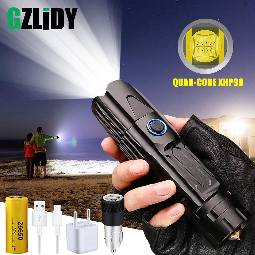 Super Bright XHP90 LED Flashlight with USB Input and Output Function 5 Modes Glare Tactical Torch Waterproof Zoom Outdoor Light