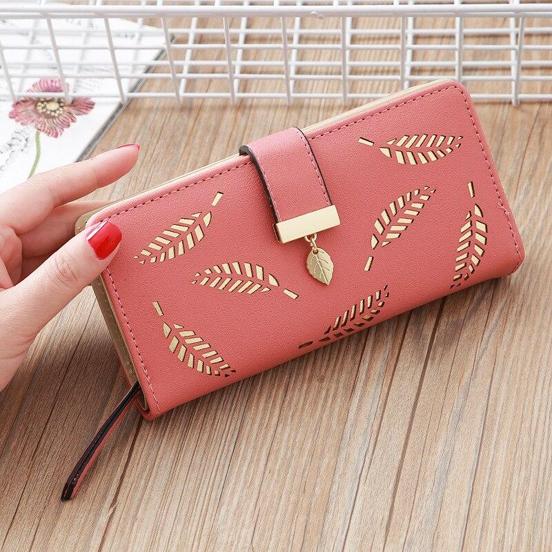 Long Women Wallets Female Wallet Ladies Zipper Buckle Hollow Leaf Purse Card Holder Money Bags