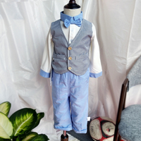 2019 Newborn Baby Boy Clothes Set Cotton long sleeve Clothing tie bow vest romper Pants Gentleman suit Kids 1 2 Birthday Party
