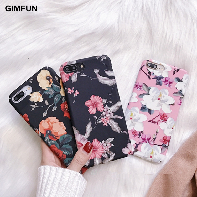 GIMFUN Luxury Retro Flowers Floral Phone Case for Iphone 11 Pro Max Scrub Hard Plastic Case for IPhone Xr X Xsmax 7 8 6 Plus case for iphone phone casescase for iphone 6s - AliExpress