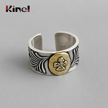 Kinel New 100% Real 925 Sterling Silver Animal Ring Adjustable Punk Vintage Jewelry Ladys Party Gift