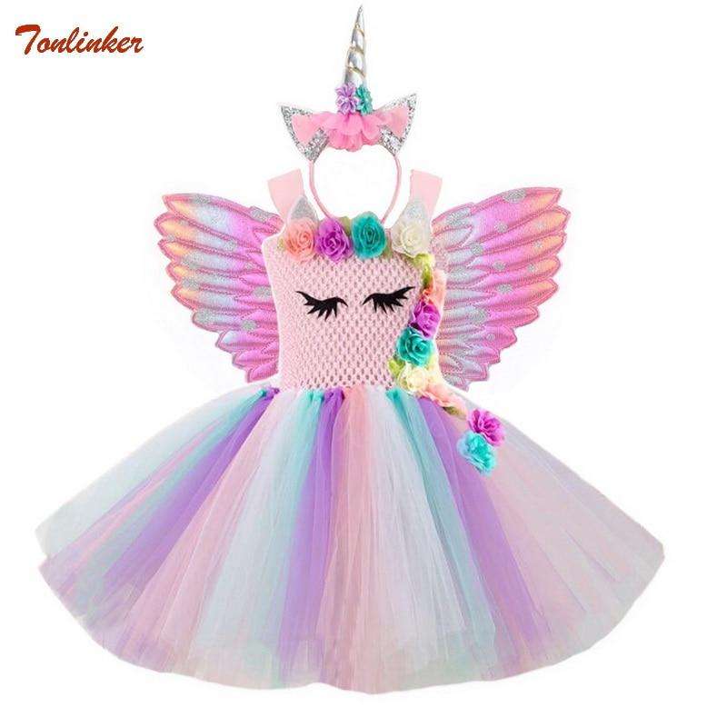Halloween Flowers Unicorn Costume Pony Unicorn Tutu Fancy Dress Up Headband Wings For Girls Flower Pageant Princess Headress