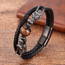 Luxo aço inoxidável pulseiras para homens redondo olho de tigre pedra natural dragão forma metal pulseiras de couro presentes para o ano novo