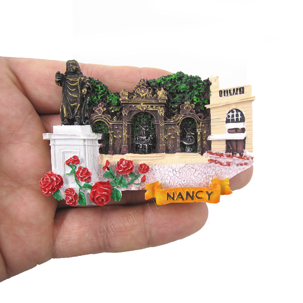 France Nancy Cute Hand Painted 3D Resin Fridge Magnet Stickers Country City Tourism Souvenir Collectible Home Decoration Craft