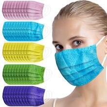 Mascarilla desechable para adultos, máscara de colores variados, tela Spunlace, transpirable, en relieve, protectora para exteriores, 10 Uds.