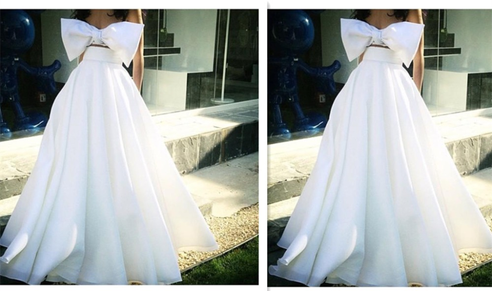Formal Evening Dress Floor Length Ball Gown Two Pieces White Big Bow Bridal Party Prom Gowns Arabic 2019 Custom Prom Dresses