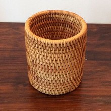 Rattan Chopsticks Tube Shovel Spoons Bucket Dinner Knives Forks Tableware Storage Box Home Storage Baskets Organizer(China)