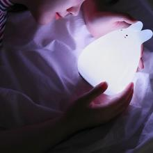 0.5W DC 5V Silicone Colorful White Rabbit Patted Sensor LED Nightlight With USB Charging Night Lamp For Bedroom Children Gift
