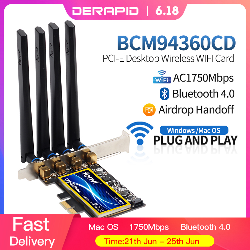 1750Mbps Fenvi T919 PCIe WiFi Card Adapter BCM94360CD For MacOS Hackintosh Bluetooth 4.0 802.11ac 2.4G/5GHz Dual Band Desktop PC