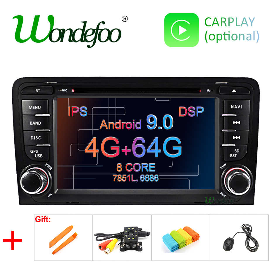 Ips dsp 4g 64g android 9.0 carro dvd gps para audi a3 8 p 2003-2012 s3 2006-2012 rs3 sportback 2011 multimídia player rádio estéreo