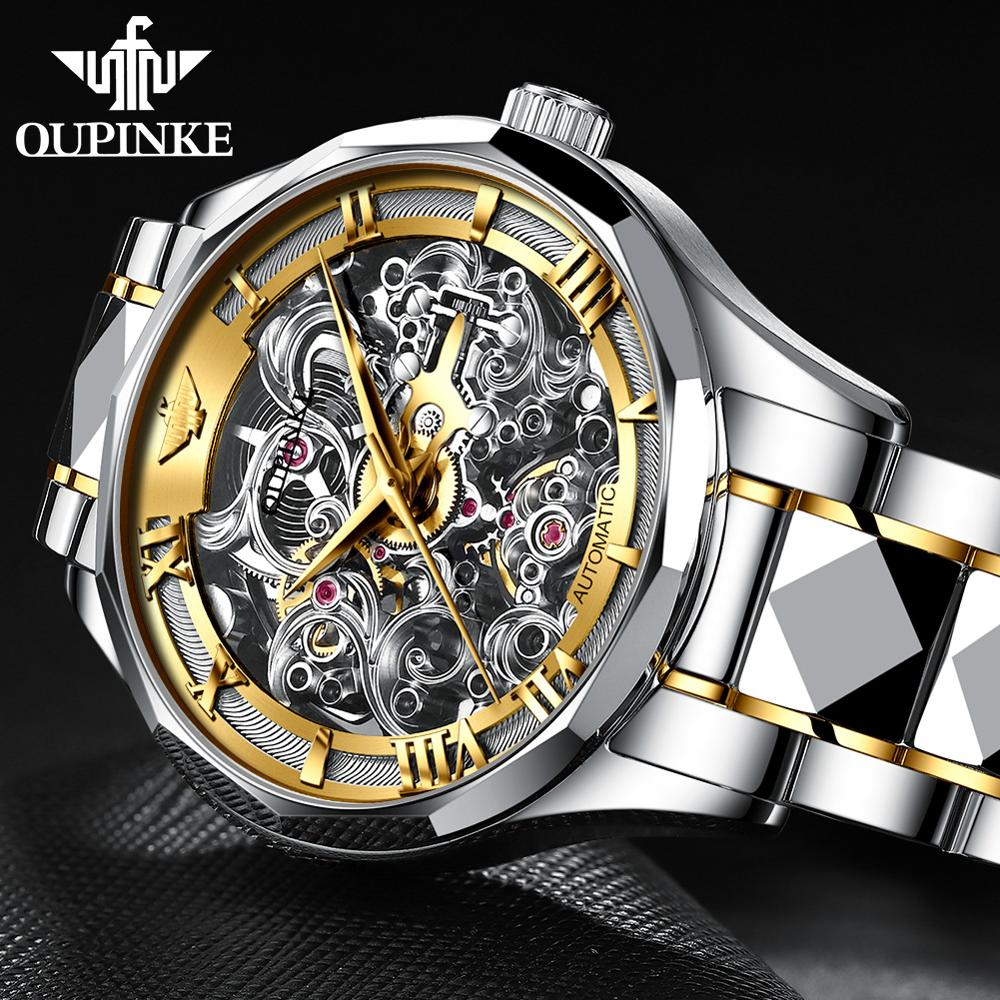 OUPINKE 2020 Fashion Men mechanical watches Brand Luxury Leather Strap Automatic Sapphire Skeleton Hollow Waterproof Wristwatch