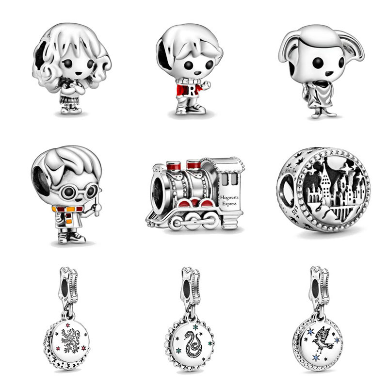 2020 new free shipping potter style School of Witchcraft Hogwarts Express bead fit Pandora charms silver 925 Original bracelet(China)