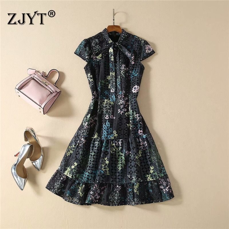 Spring Summer Fashion Runway Dress 2020 Women Short Sleeve Bow Neck Floral Print Hollow Embroidery Cotton Casual Vintage Dress
