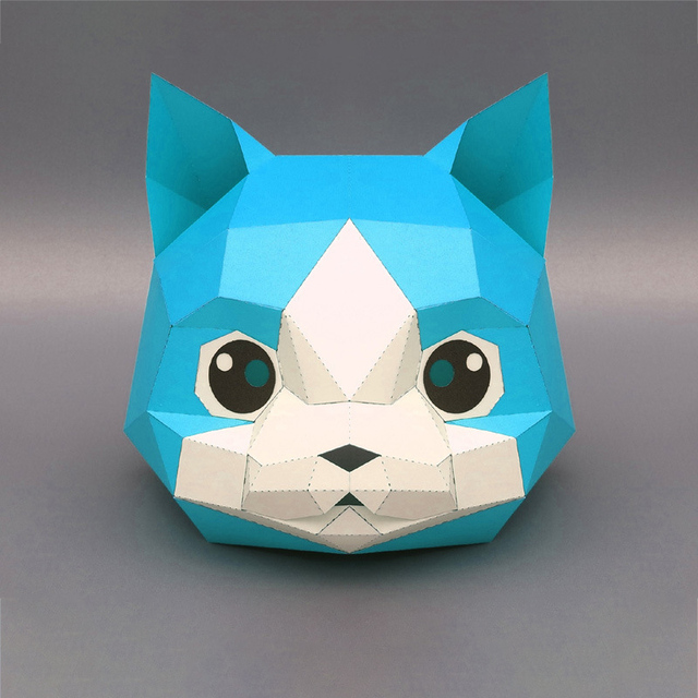 3D Paper Mask Fashion Animal and Game Role-Playing Costume DIY Handmade Paper Model Mask Christmas Halloween Party Gift 2