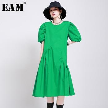 [EAM] Women Green Pleated Split Midi Dress New Round Neck Short Puff Sleeve Loose Fit Fashion Tide Spring Summer 2020 1W188
