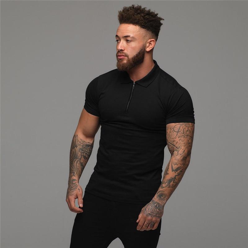 Muscleguys Man Fashion Polo Shirt Casual Fashion Plain Color Short Sleeve High Quality Slim Polo Shirt Men Fitness Polo homme