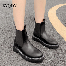 BYQDY New Square Heels Boots  Female Leather Women Ankle Boots For Lady Round Toe Winter Shoes Women Slip-on Boots Chelsea women ankle leather boots split toe round heels splited toe lady shoes woman high heels female boots ninja tabi boots