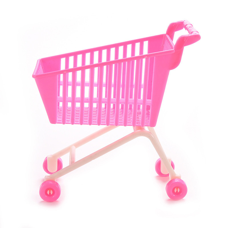 1pc Newest Creative Mini Cute Shopping Cart Classic Toys Birthday Gift Kids Supermarket Pretend Play Doll Accessores Toys
