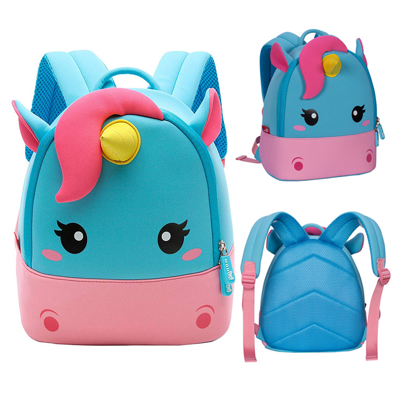 Toddler Girl Backpacks 3D Cartoon Unicorn Travel Pre School Bag For Kids 2-8 Years Three Size Children Schoolbag Mochila Escolar