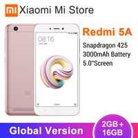 В наличии, глобальная версия, Xiaomi Redmi 5A, 2 Гб ОЗУ, 16 Гб ПЗУ, мобильный телефон Snapdragon 425, четыре ядра, 5,0 дюймов, 13,0 МП, 4G LTE, 3000 мАч, MIUI 9
