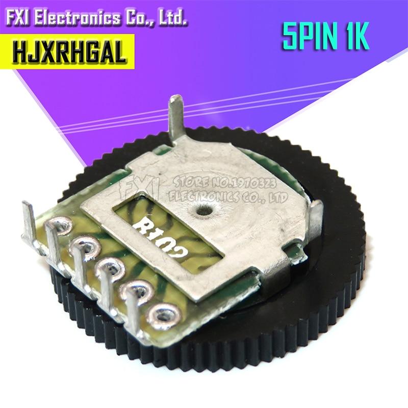 5pcs Double Gear Tuning Potentiometer B102 1K 5Pin 16*2mm Dial Potentiometer