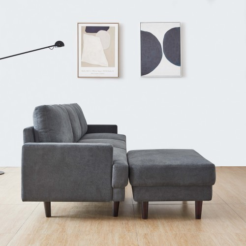 Modern fabric sofa L shape, 3 seater with ottoman-104 3
