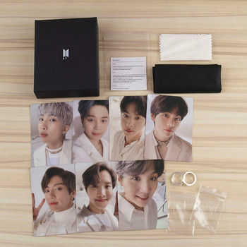 Kpop Bangtan Boys Silver Plate Finger Rings With Poster LOMO Cards Jewelry Rings Accessories For Men Women Jewelry
